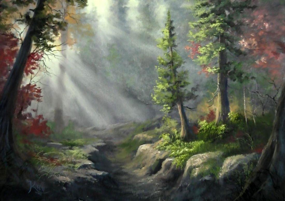 Forest scene landscape artwork in oil resim pinterest for Oil or acrylic