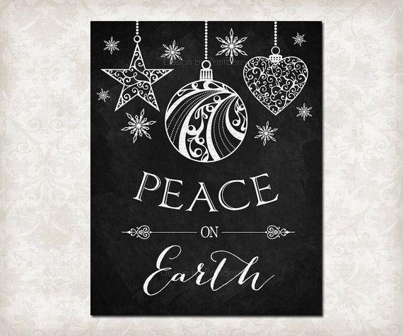 Printable Decor Peace On Earth Printable Christmas Chalkboard Etsy Christmas Chalkboard Christmas Chalkboard Art Chalkboard Art