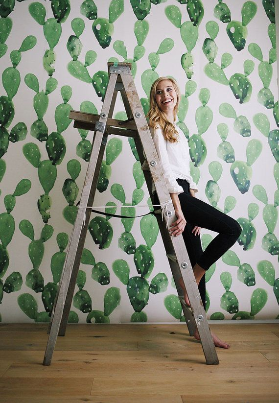 Cactus Mural Large Wall Mural Watercolor Mural Wallpaper En 2019