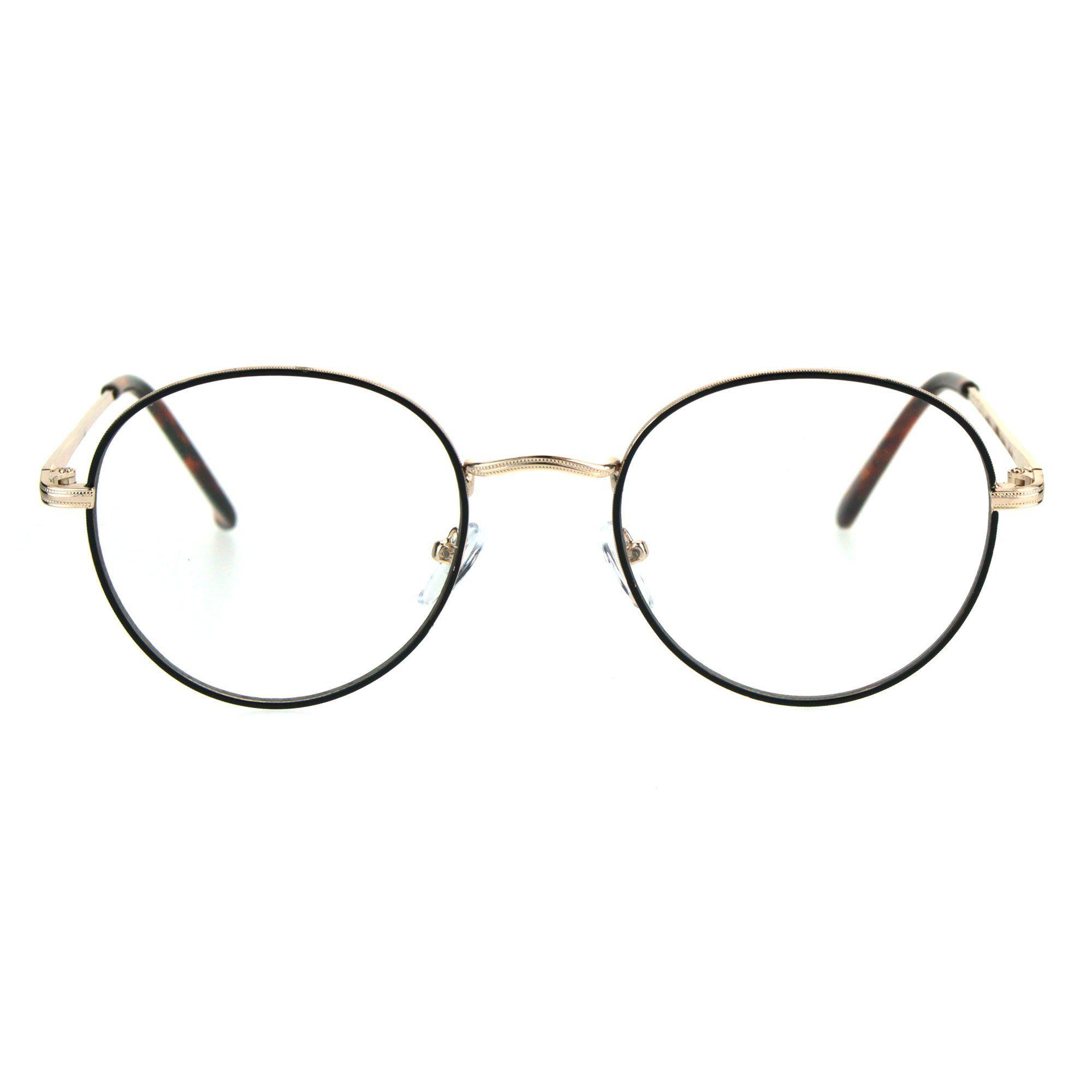 1249d1f140b Unisex Clear Lens Glasses Vintage Fashion Round Oval Metal Frame Eyeglasses  - Measurements  5 5