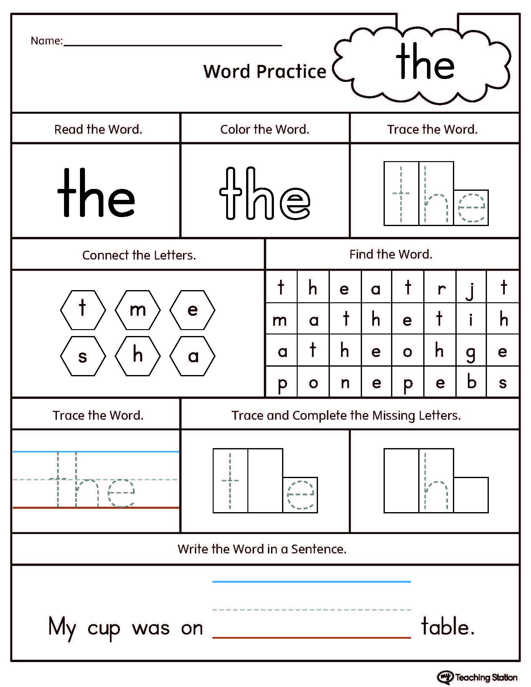 **FREE**Sight Word the Printable Worksheet. Practice sight word THE with  this action pack printable worksheet. Your child will find, trace, and write  the ...