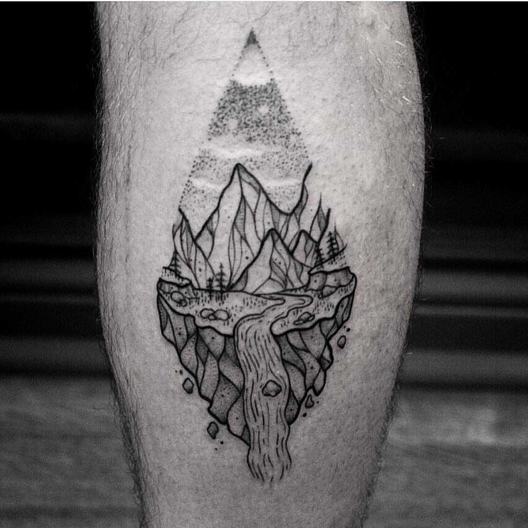 Mountain stream and landscape tattoo on the calf by jas