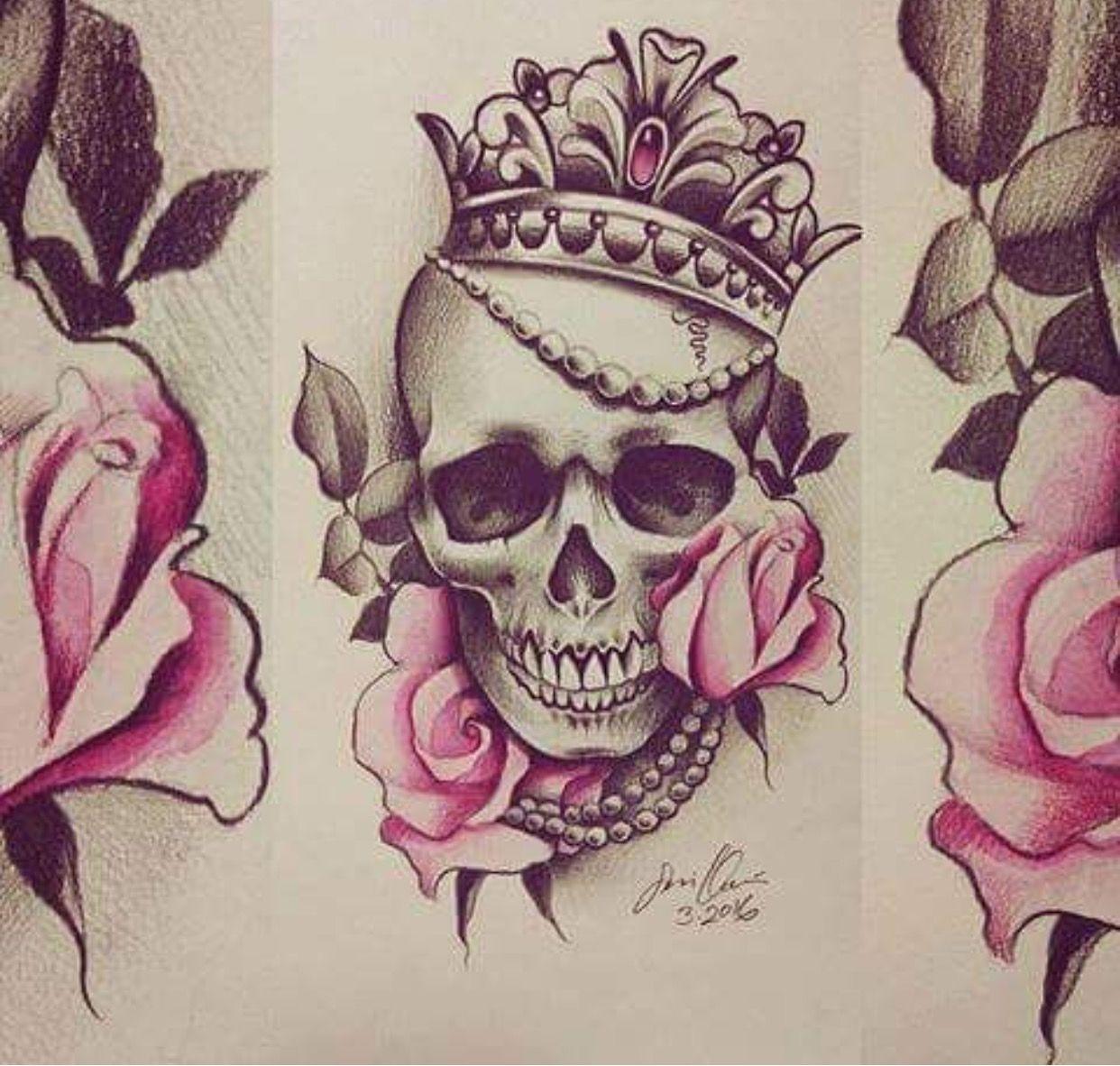 Cranio Coroa Joias Rosas Preto E Branco Desenho Arte