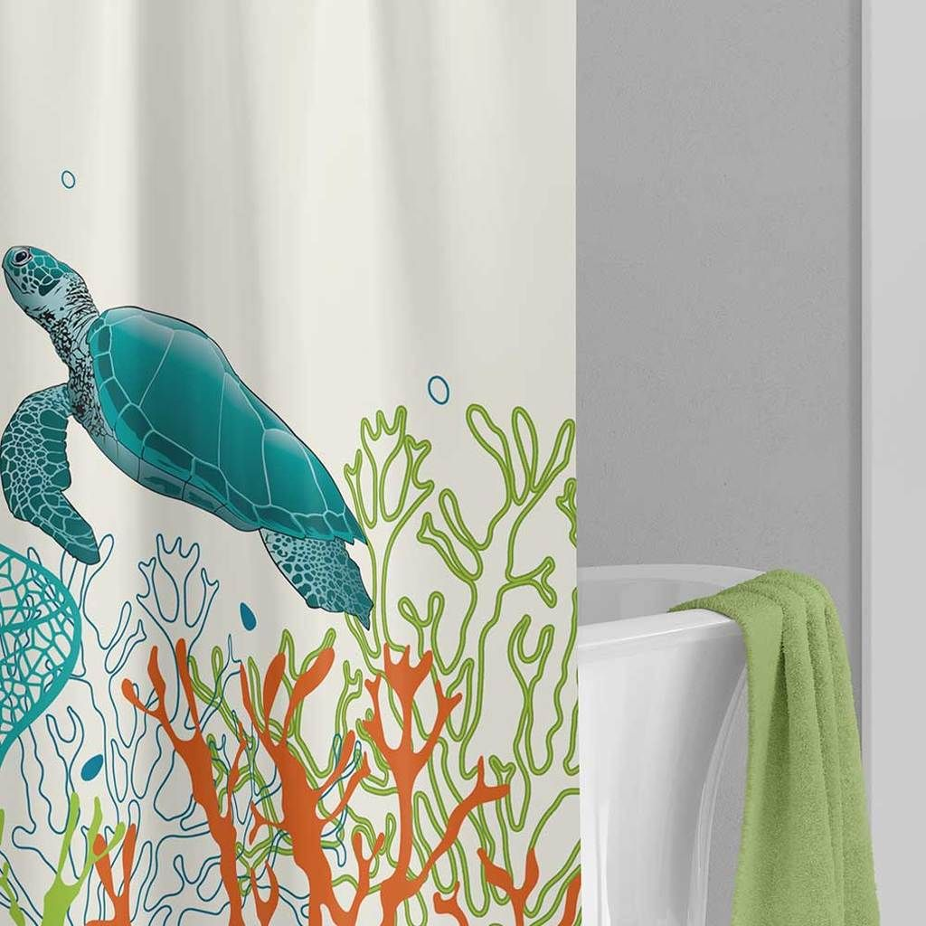 Turtle Shower Curtain Bath Mat Underwater Corals Teal Orange