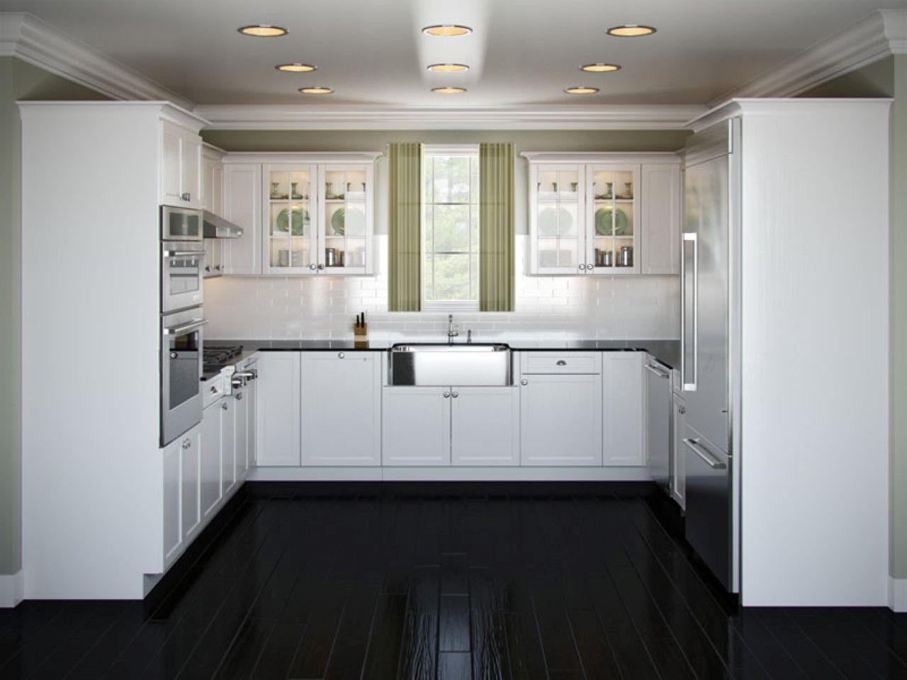 Attractive Black Kitchen Flooring Ideas Part - 4: New U Shaped Kitchen Design White Cabinets And Black Floor
