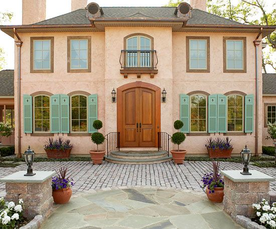 Country french style home ideas curb appeal pinterest - Country style exterior house colors ...