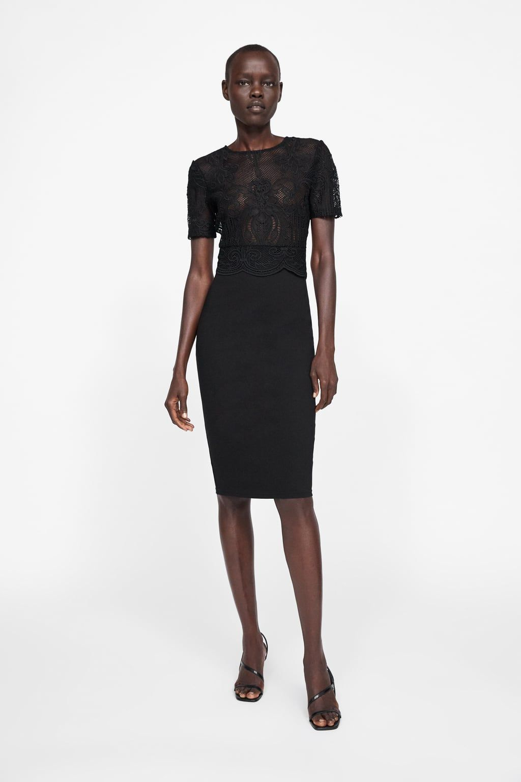 Contrasting lace dress | Zara black dress, Lace dress ...