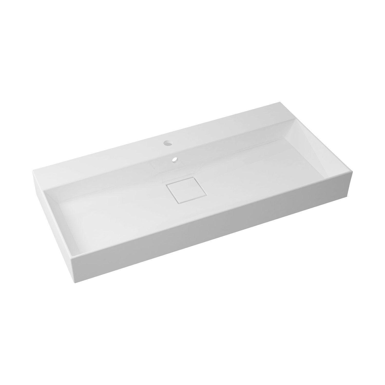 Plan Vasque Simple Pure Marbre De Synthese L 105 X P 10 2 Cm Plan Vasque Vasque Et Leroymerlin Salle De Bain