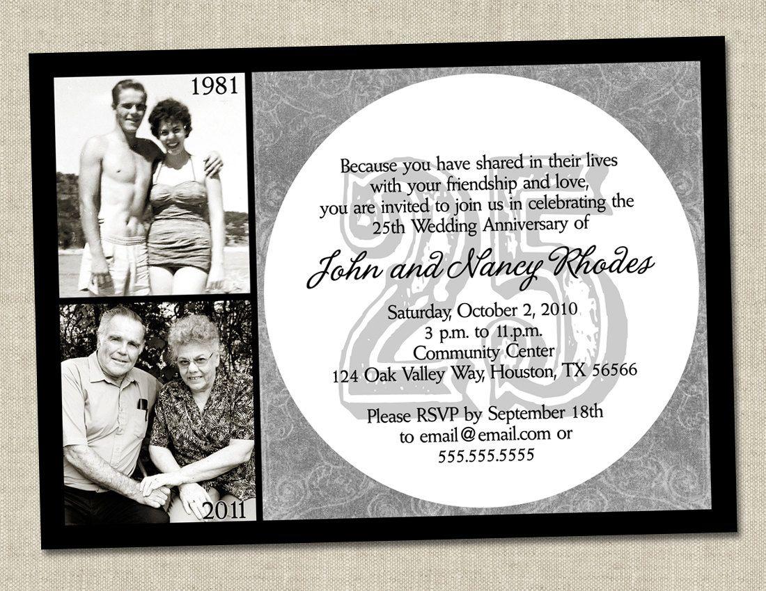 44aa568a0956727b43116a920cfd3e85 25th wedding anniversary invitations wedding invitation into,25th Wedding Anniversary Invitation Ideas