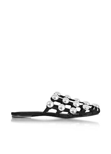 Alexander Wang Designer Shoes, Amelia Suede Flat Mule w/Studs