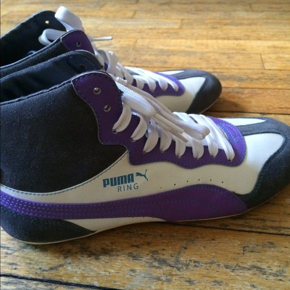 Purple Puma Ring Hightops Puma Rings, suede gray accents - out of box but never worn. Puma Shoes Sneakers