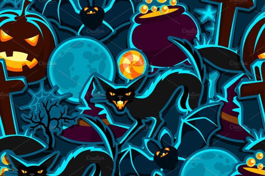 Happy halloween sticker set. in 2020 Seamless patterns