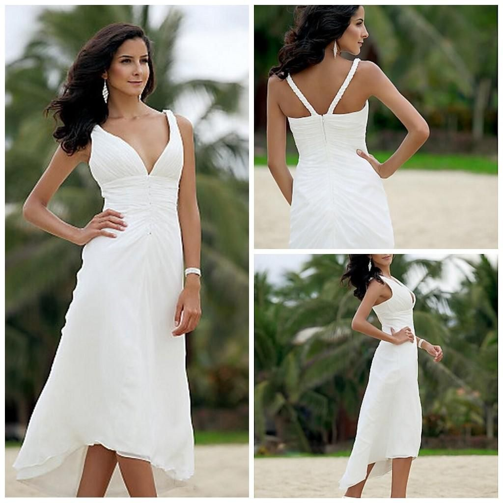 Under 100 Dollar A Line Mid Calf Short Beach V Neck Chiffon Wedding Dres Tea Length Beach Wedding Dresses Casual Beach Wedding Dress Casual Wedding Dress Short