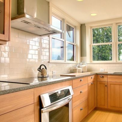 Cream Glass Subway Tile Maple Kitchen Cabinets Country Kitchen