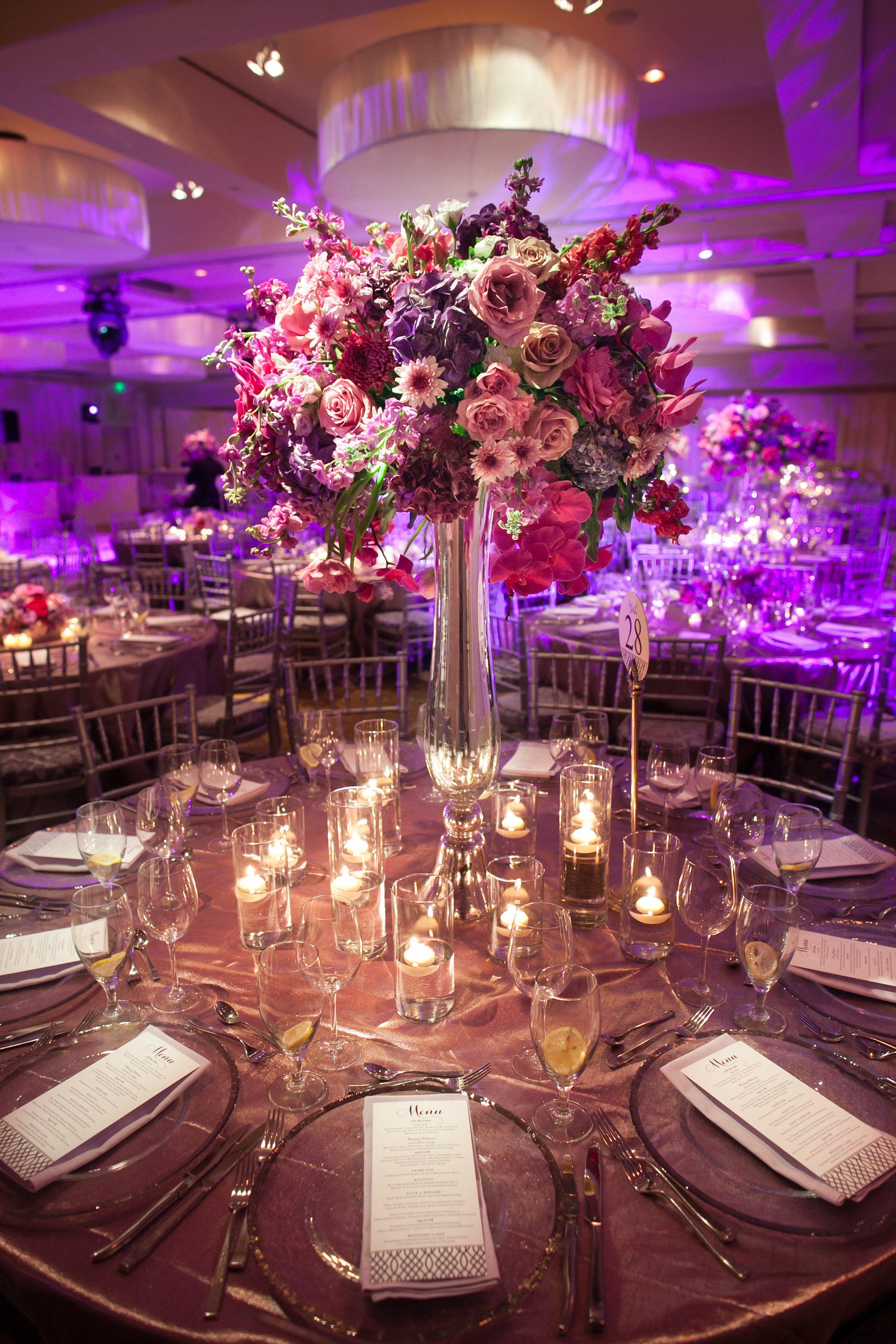 Wedding decoration ideas purple  Tall Purple Centerpiece  Future wedding  Pinterest  Centerpieces