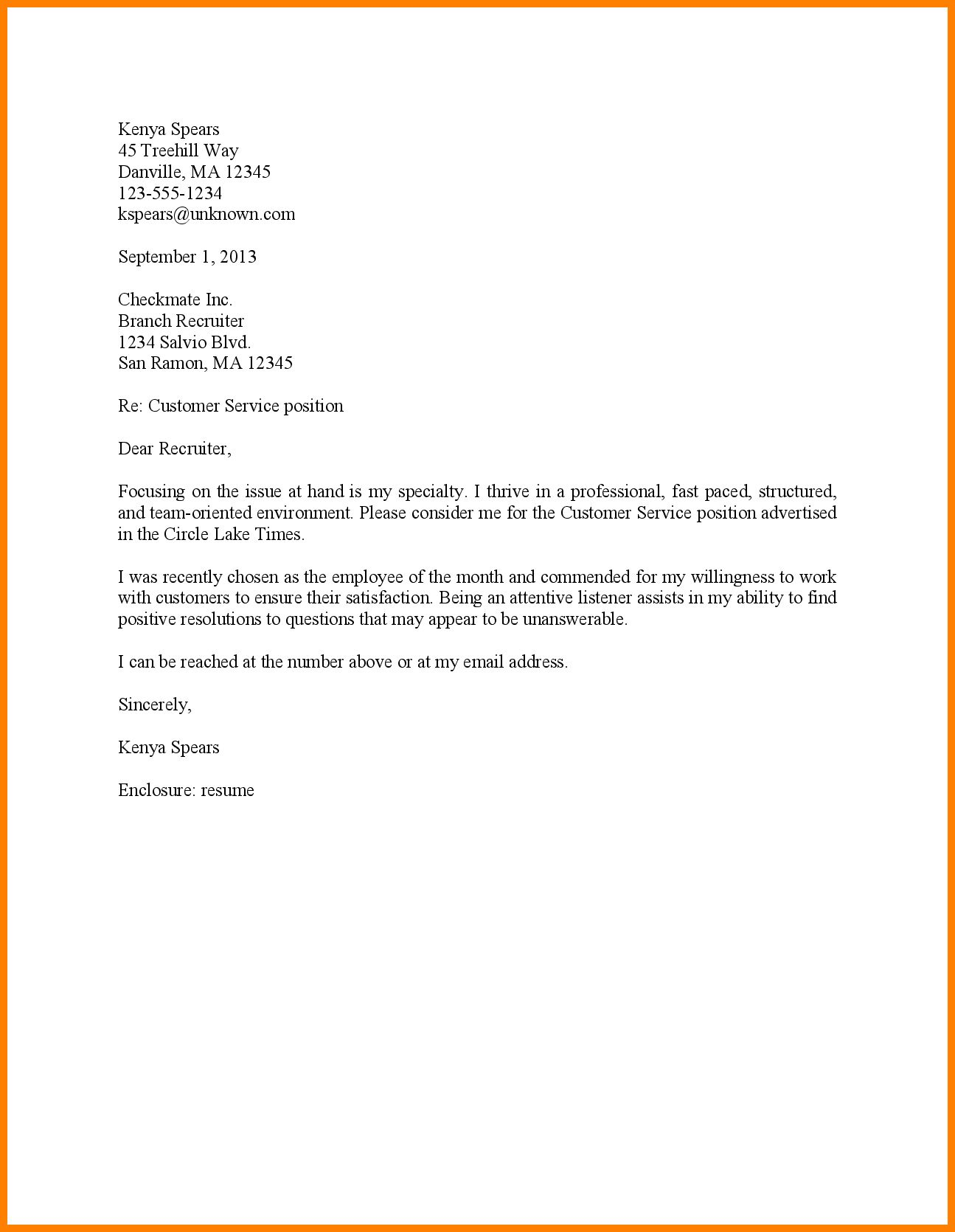 23 Customer Service Representative Cover Letter Template Sample