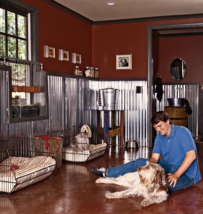A Room For Dogs With Cement Floors And Aluminum Wainscotting I