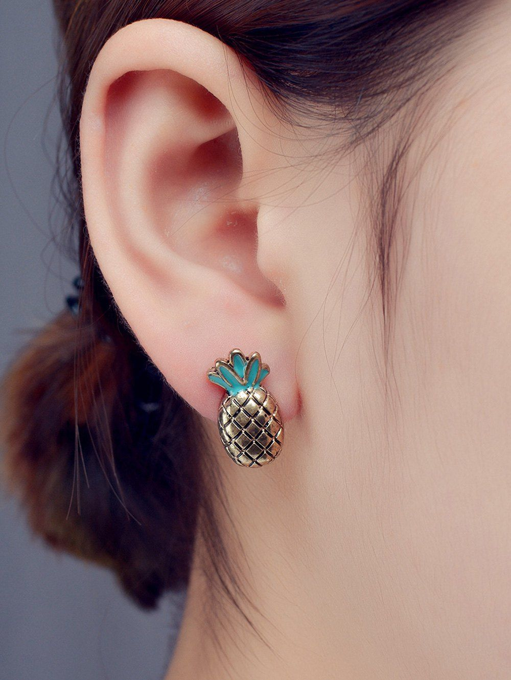 Enameled Pineapple Stud Earrings #jewelry, #women, #men, #hats, #watches, #belts, #fashion