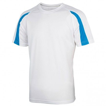 AWDis Just Cool / Cool Contrast T Shirt  in White / Sapphire Blue. Check out our range of shirts with your EMBROIDERED or PRINTED CREST and personal Crest Group Membership Number printed on the sleeve. Consecutive numbers available for families and Groups.  Check our website for our range of garments for Gents, Ladies and Children  http://www.crestconnections.com