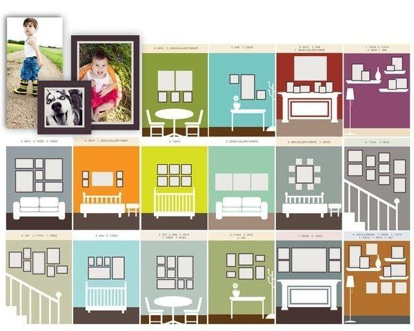 Схемы размещения фотографий на стене | Стена галереи макет ...