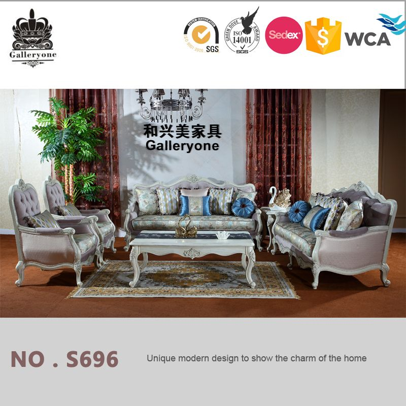 Elegant Royal Living Room Furniture Wooden Luxury Sofa Sets