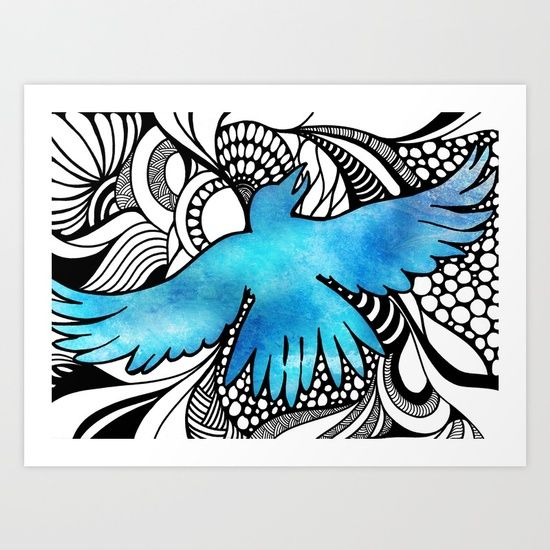 Sky Blue Bird Drawing Ink Pen Digital Traditional