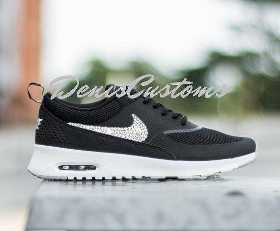 Nike Air Max Thea Black White Custom Swarovski Crystals Swoosh ... c568ce8f45