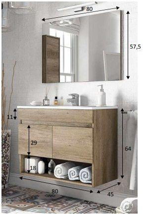 Mobile bagno Cosmo 80 cm rovere lavabo in ceramica