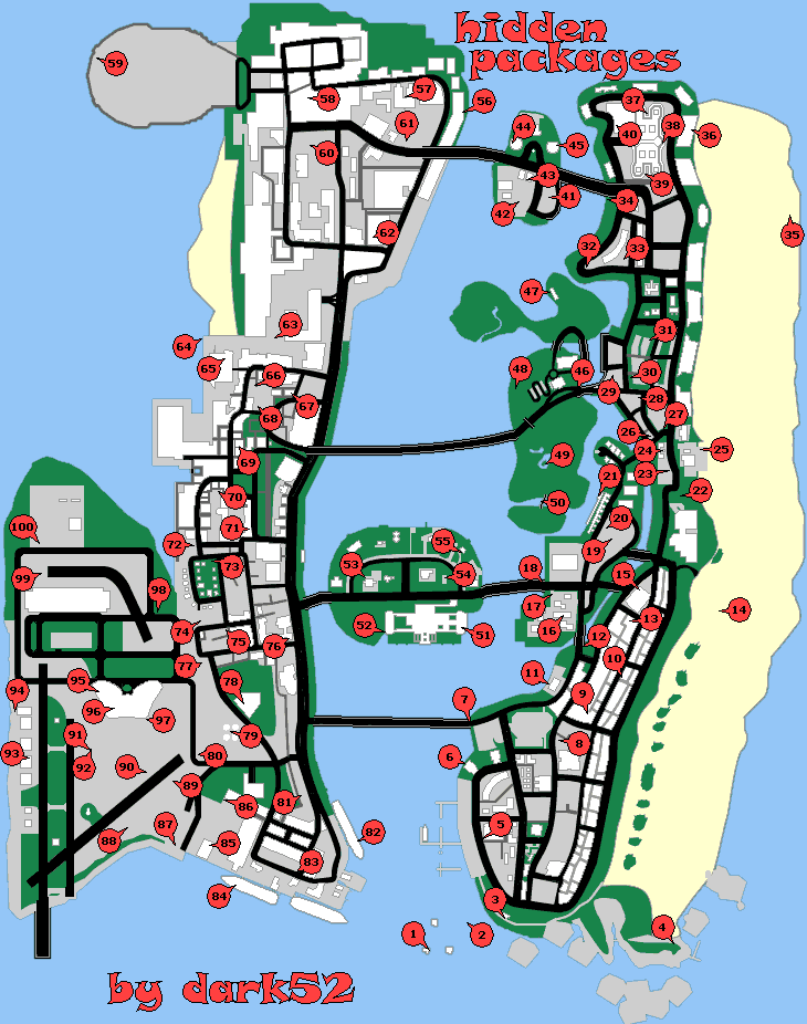 <b>GameFAQs</b>: <b>Grand Theft Auto</b>: Vice City (PS2) Hidden Packages Map by ...