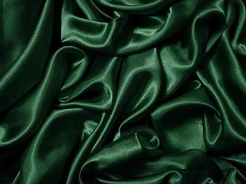 BOTTLE GREEN SILKY SATIN FABRIC MATERIAL DRESS