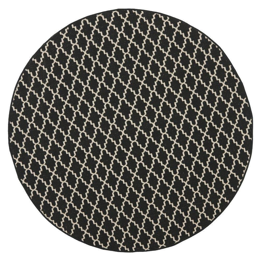 Superieur Durres Round 5u00273 Outdoor Patio Rug   Black / Beige   Safavieh, Black