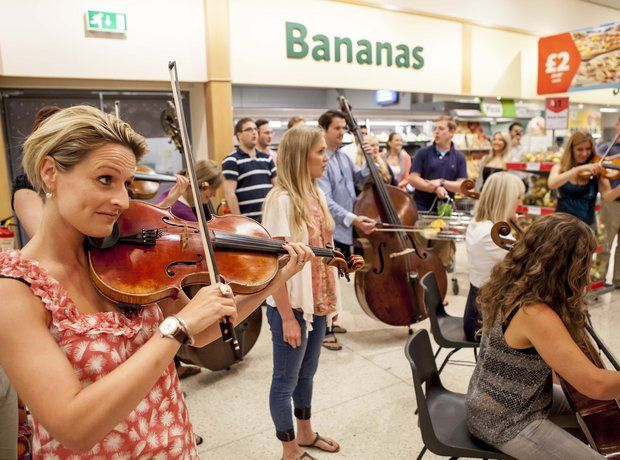 "Handel Flashmob - ""Part of Classic FM's (20th birthday) celebrations included taking some musicians to a local supermarket and surprising some shoppers with a blast of Zadoc The Priest."" Photo Richard Johnson."