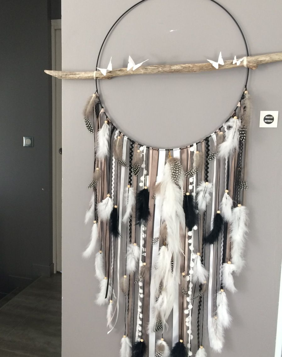 Attrape r ves dreamcatcher geant en bois flott coloris for Bois flotte blanc