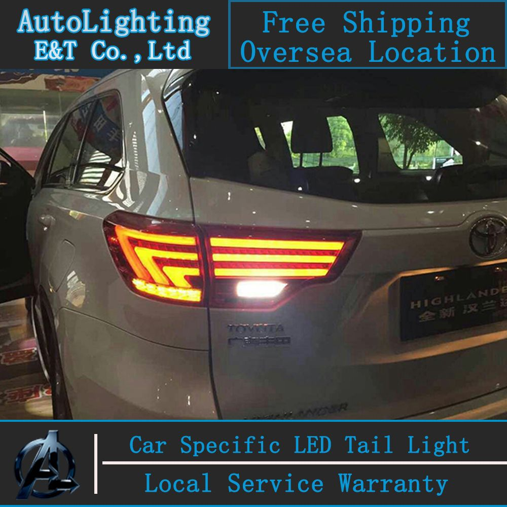 Car Styling Tail Lamp For Highlander Tail Lights 2015 For Toyota Highlander Led Tail Light Rear Lamp Signal Brake Drl Reverse Led Tail Lights Car Tail Light