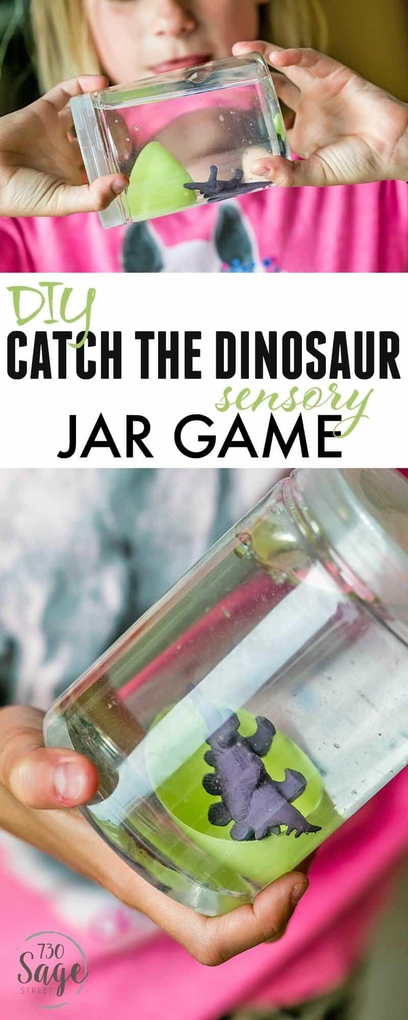 Dinosaur Preschool Crafts – DIY Catch The Dinosaur Sensory Jar Game #dinosaur