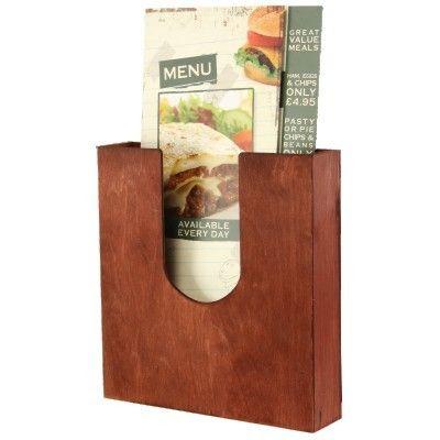 A5 Mahogany Pocket Leaflet Holder Menu Or Leaflet Holder Cut Out