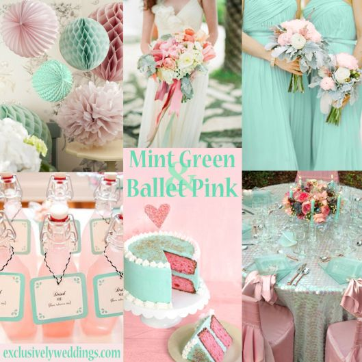 Mint Green And Ballet Pink Wedding Colors Exclusivelyweddings Weddingcolors