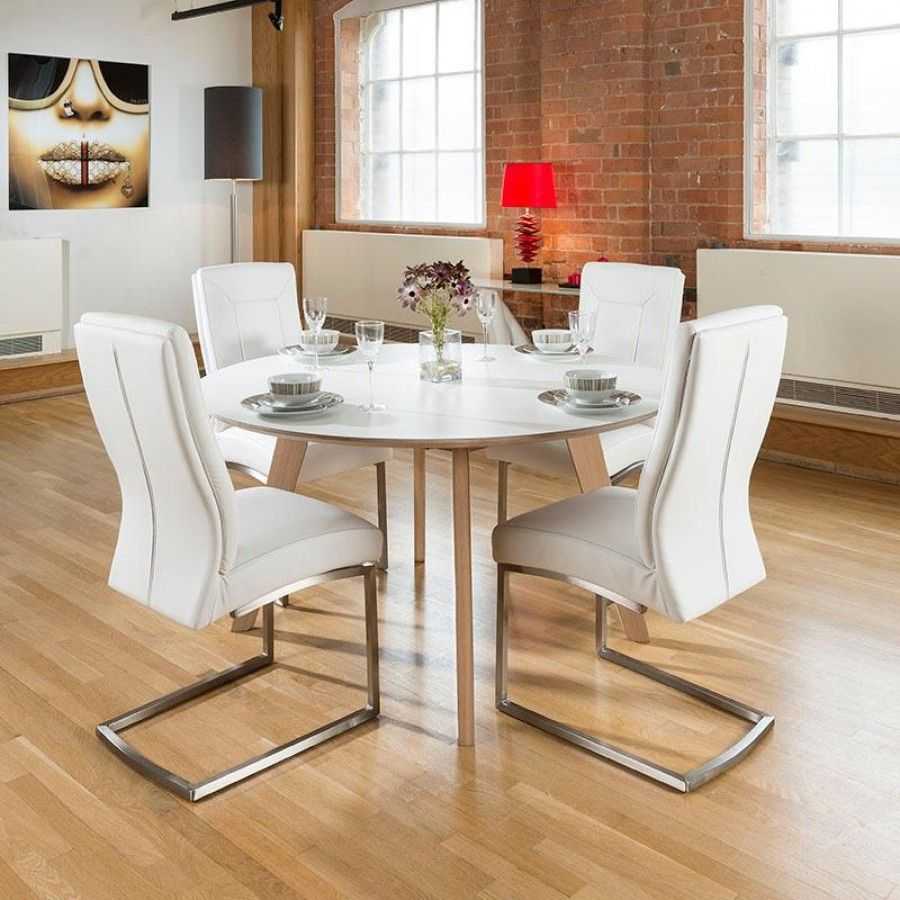 Large 1400mm Luxury Round Dining Table set with 4 White