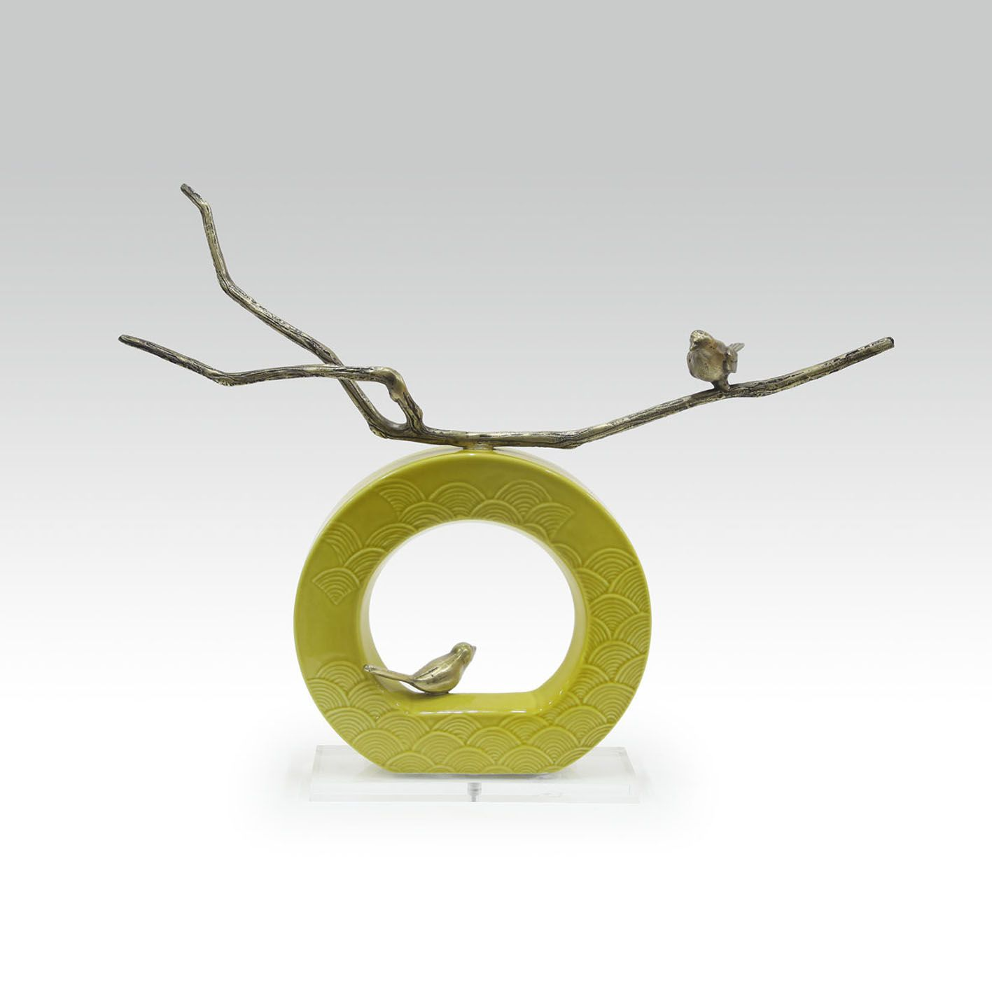 ceramic sculpture deco furniture branch bird 装饰 陶瓷 书法 摆件 屏风 鸟 透明 金属