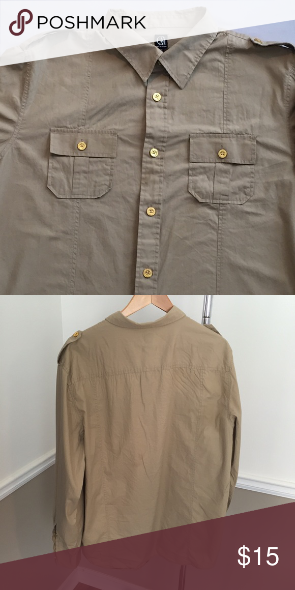 Nice khaki shirt Shirt has a military style look. This would go great with dark wash denim for a date night or a casual outing. Shirts Casual Button Down Shirts