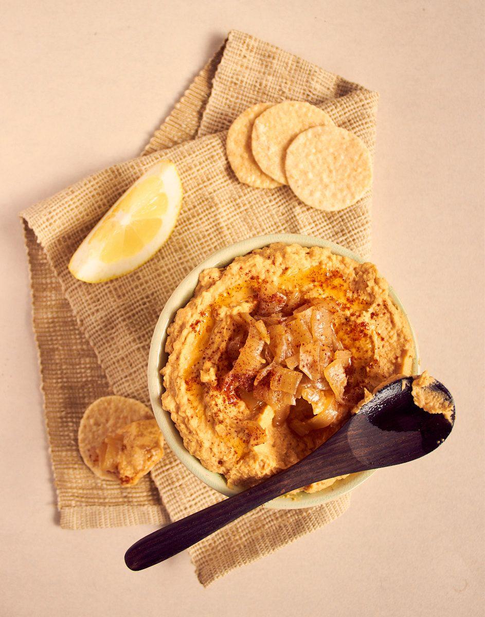 Chipotle Caramelized Onion Hummus Delightful Vegans