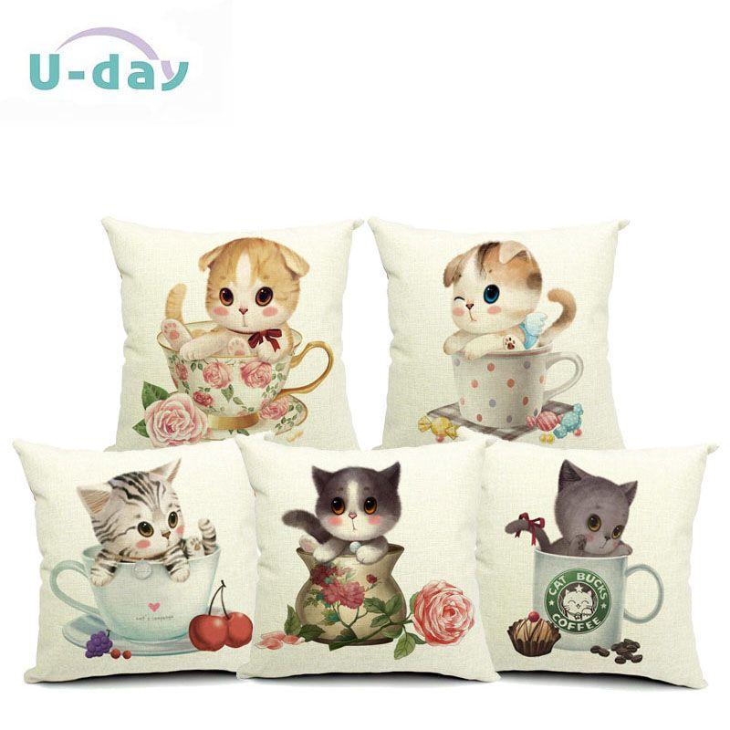 cup cat Cushion Pillow Almofadas Para Sofa Cushion Decorative Pillow Home Decor Sofa Throw Pillow Cushion 45*45 #Affiliate