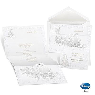 Pearlembossed Cinderellas Coach wedding invitations – Disney Fairytale Wedding Invitations