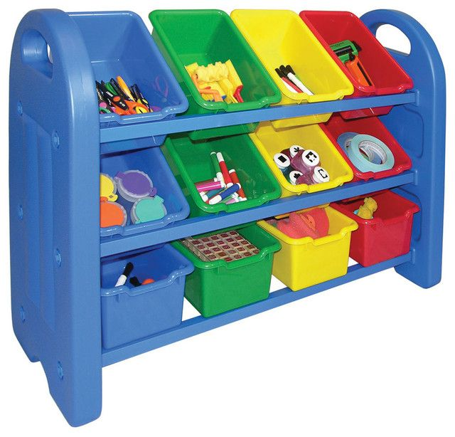 Three Tier Toy Organizer Rack With 12 Single Bins Rounded Edges Blue  Plastic New