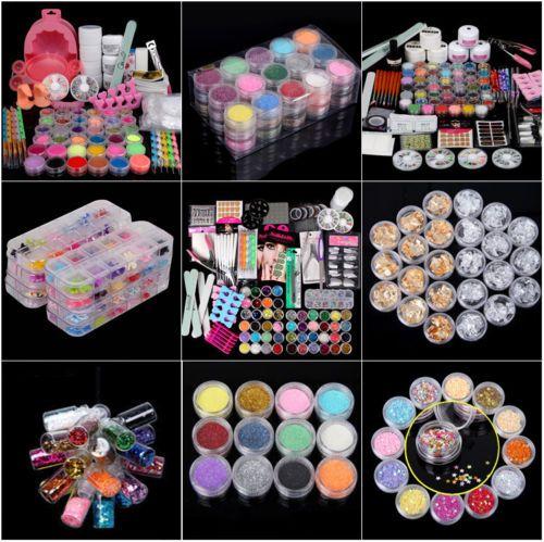 Full Set Acrylic Nail Art Tips Powder Brush Manicure Glitter