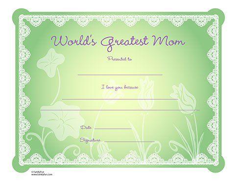 Worldu0027s Greatest Mom Certificate (Printable Motheru0027s Day Activity - kids certificate templates