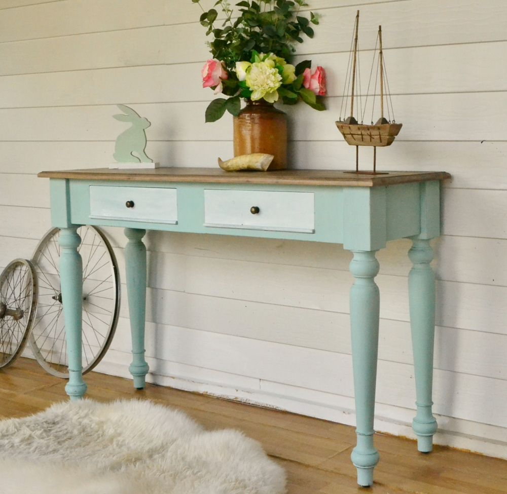 Coastal Style Duck Egg Blue Hall Table With Light Timber Top. Painted In  Miss Mustard