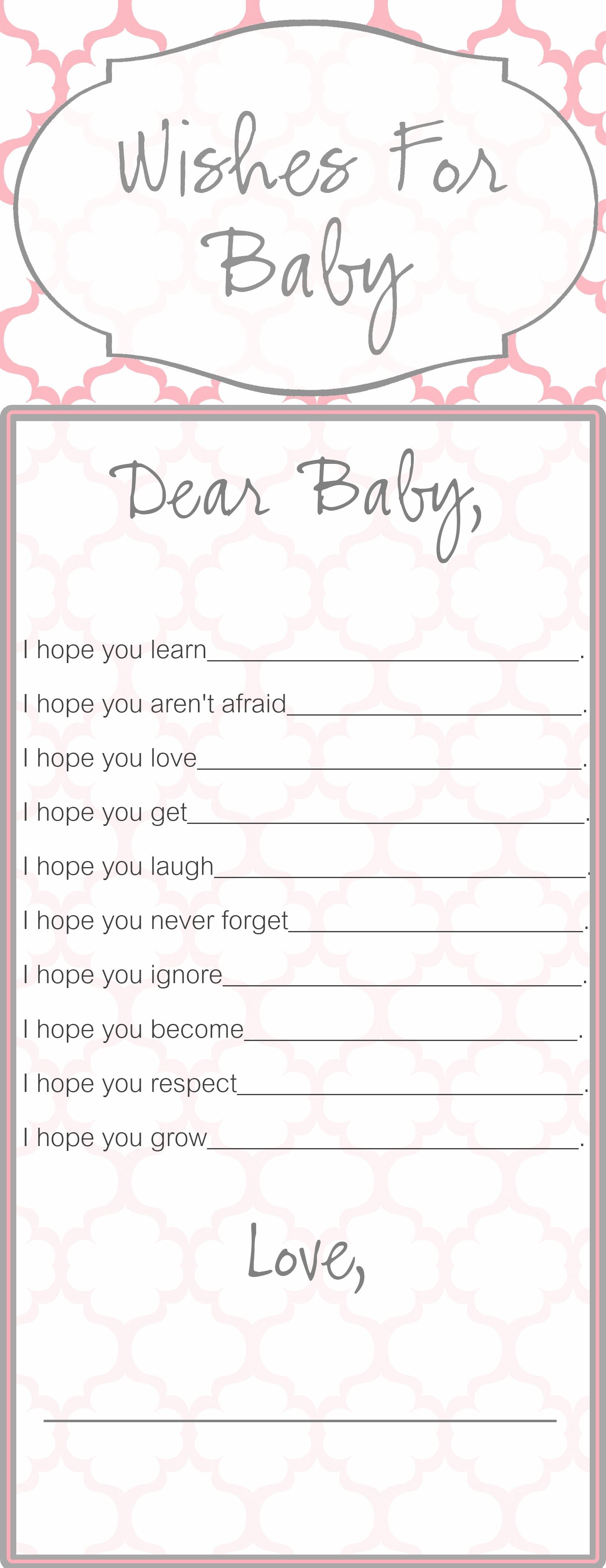 Wishes for Baby template that I created for a baby shower that my ...
