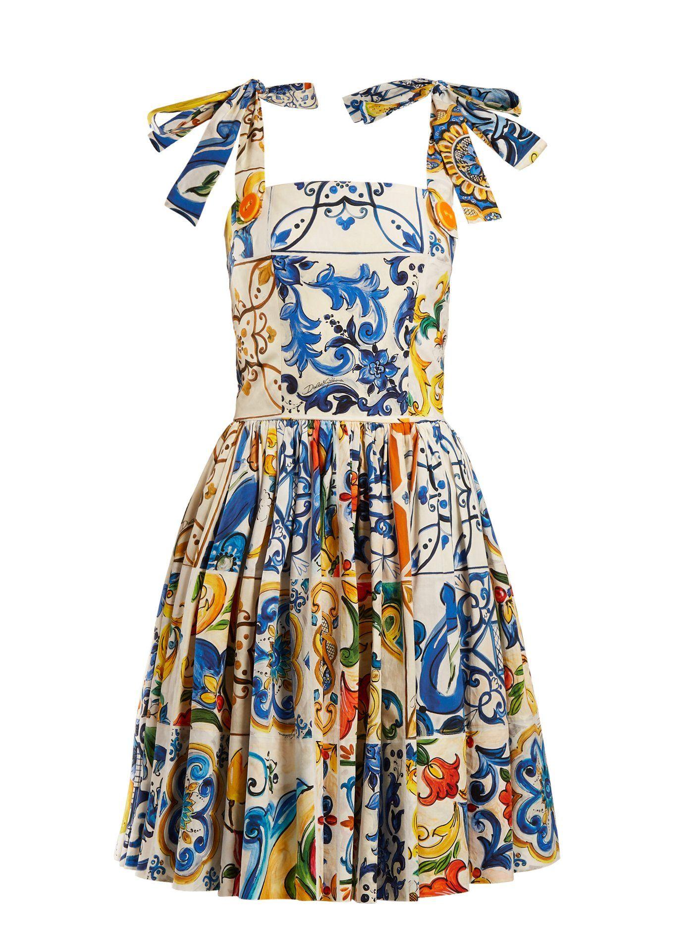 b2f25b3d78f2 Majolica-print cotton-poplin mini dress