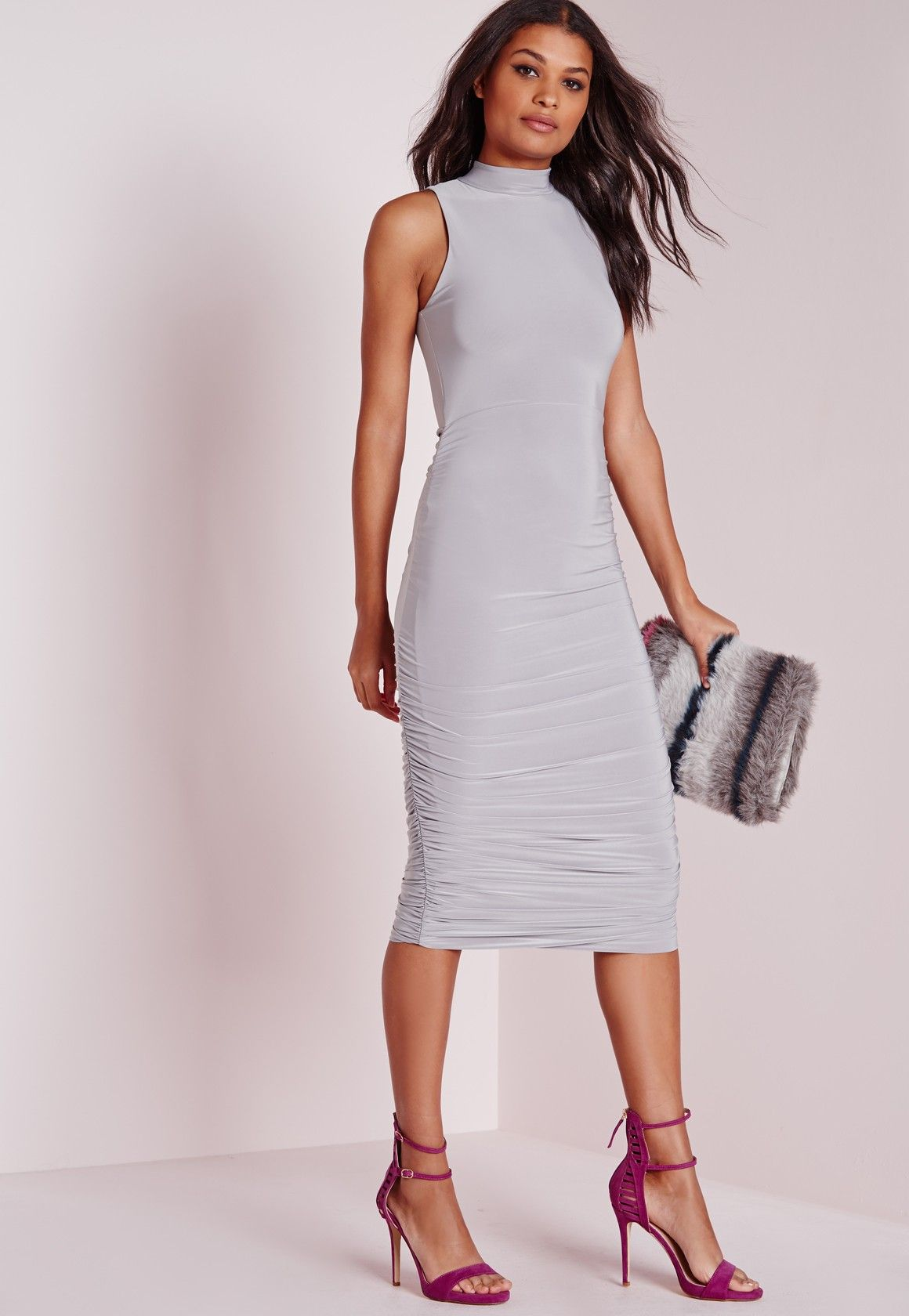 18c6089a386f Missguided - Slinky High Neck Ruched Midi Dress Grey | Fashion ...